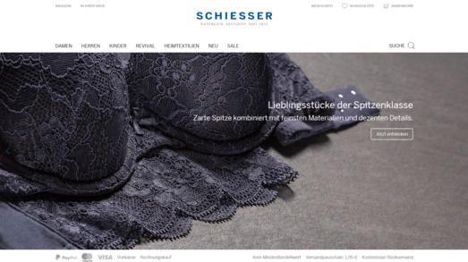 Screenshot der Startseite von schiesser.com umgesetzt mit dem OXID eShop