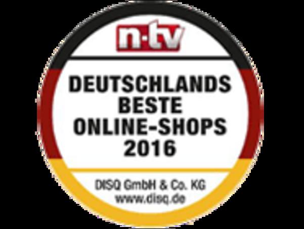 Das Logo des n-tv Tests für Deutschlands beste Online-Shops 2016