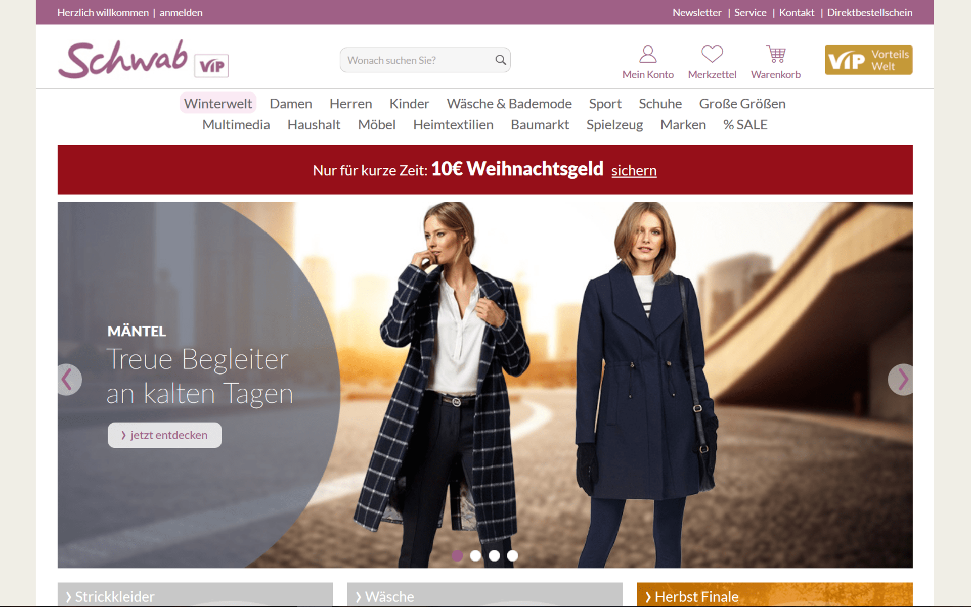 Screenshot der Startseite von schwab.de umgesetzt mit dem OXID eShop