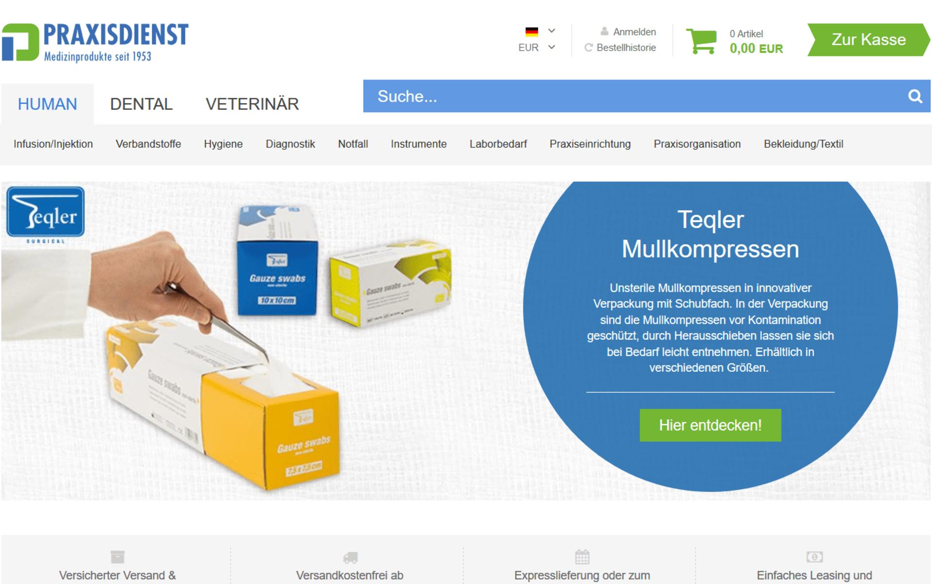 Screenshot der Startseite von praxisdienst.de umgesetzt mit dem OXID eShop