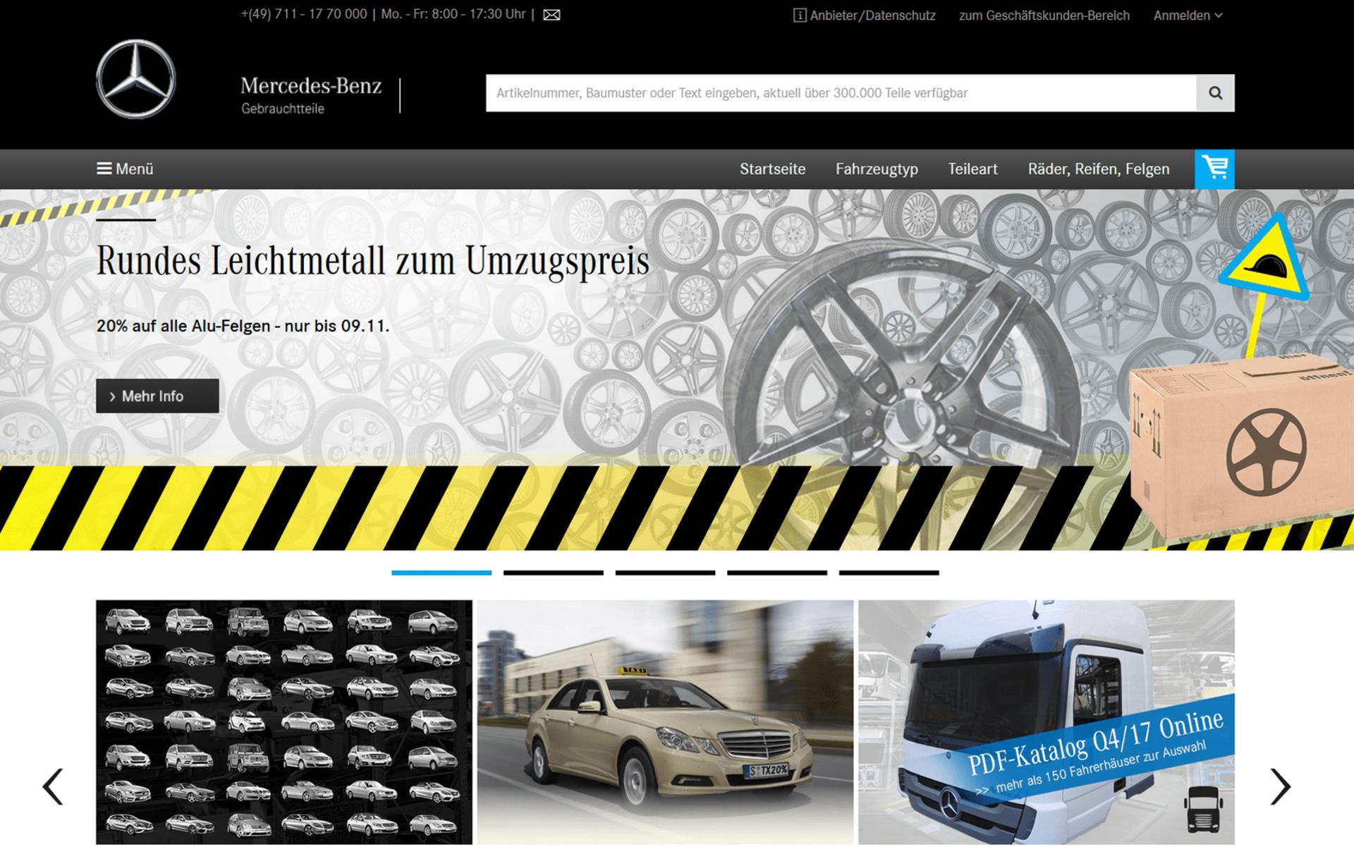 Screenshot der Startseite von mbgtc.de umgesetzt mit dem OXID eShop