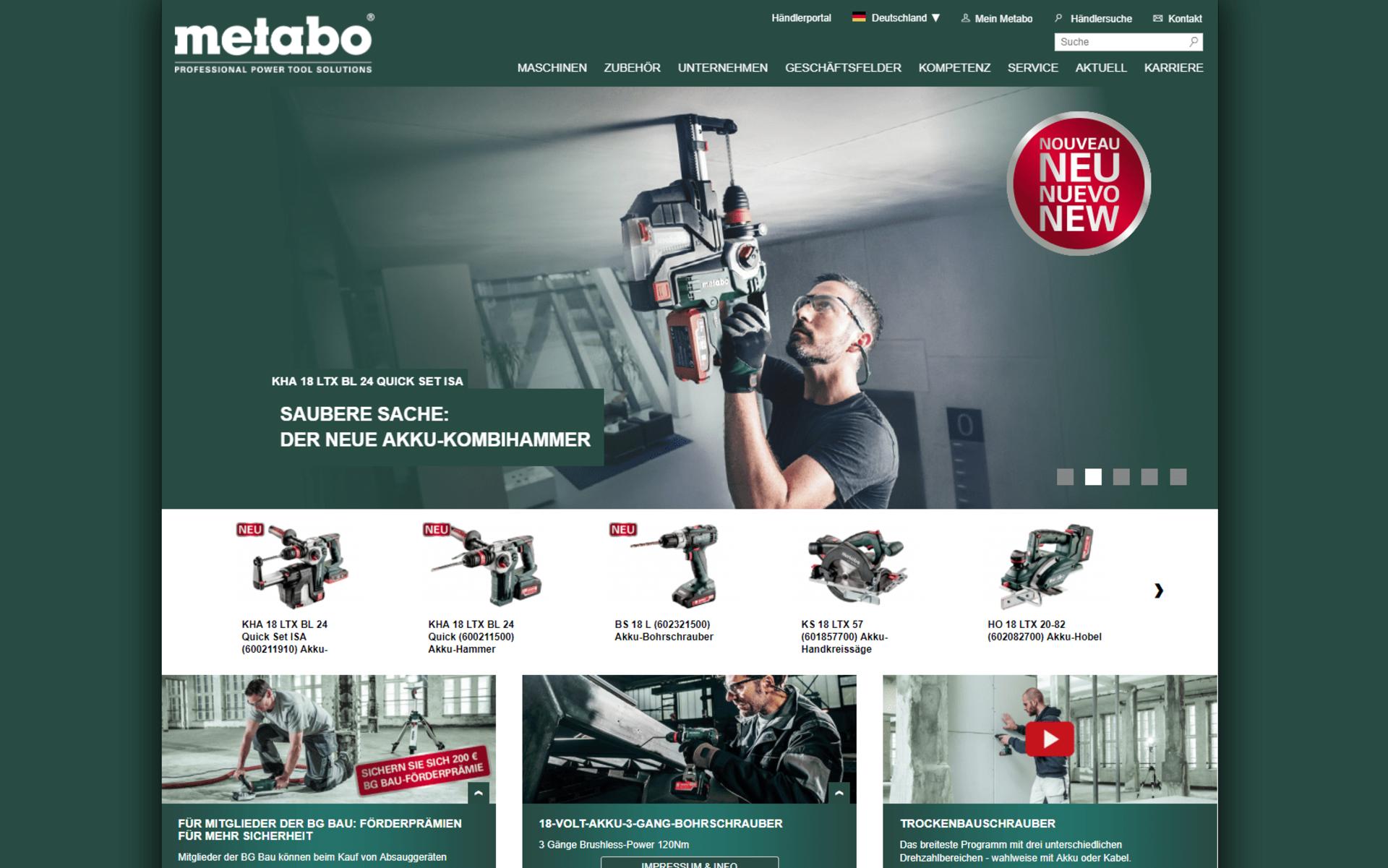 Screenshot der Startseite von metabo.com umgesetzt mit dem OXID eShop