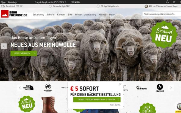 Screenshot der Startseite von bergfreunde.de umgesetzt mit dem OXID eShop