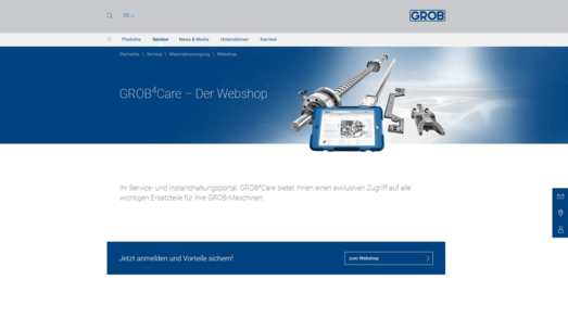 Screenshot der Startseite von grobgroup.com umgesetzt mit dem OXID eShop