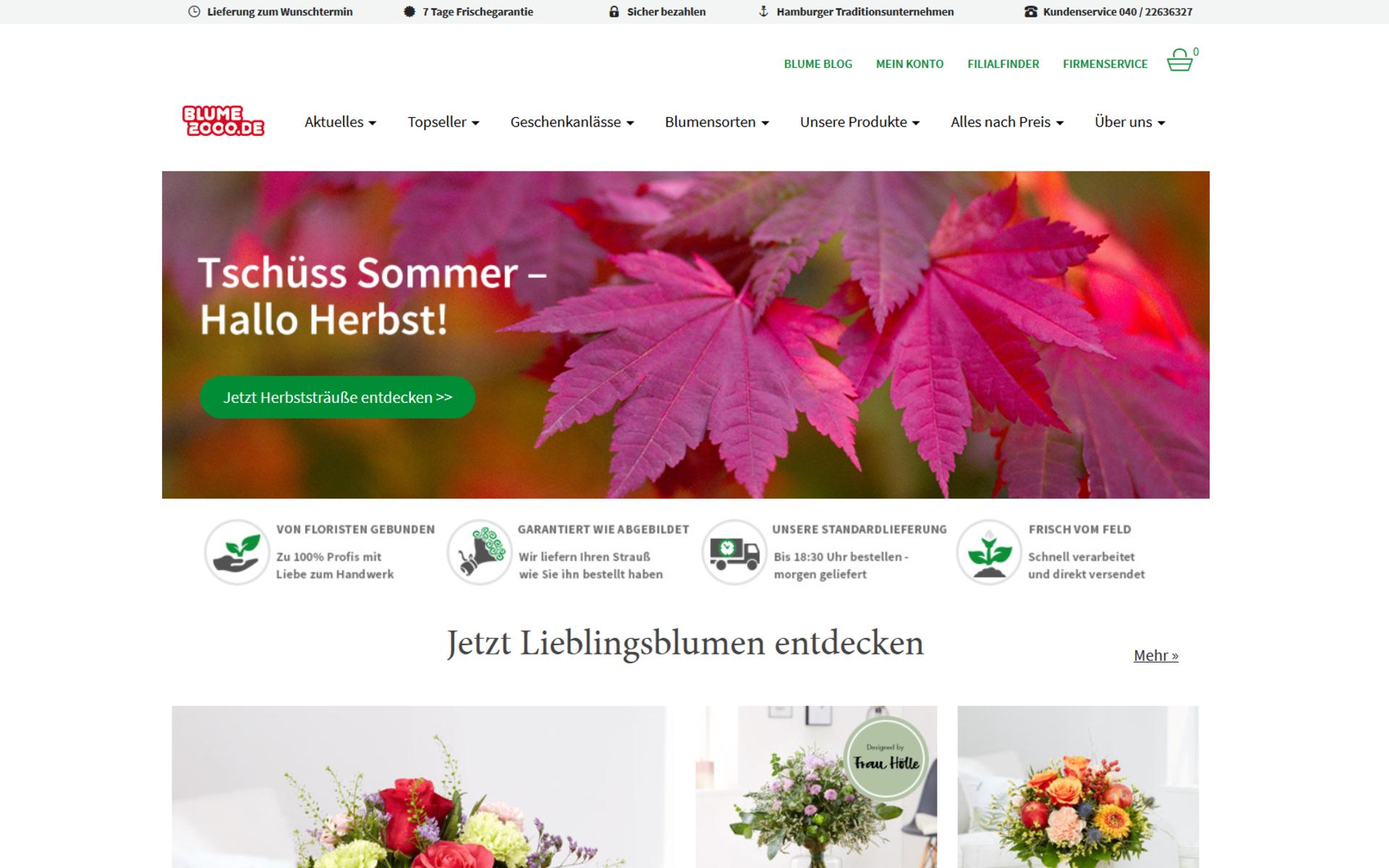 Screenshot der Startseite von blume2000.de umgesetzt mit dem OXID eShop
