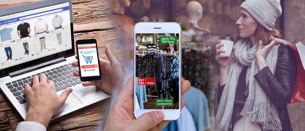 Eine Collage aus verschiedenen Bildern zeigt diverse Shoppingsituationen.