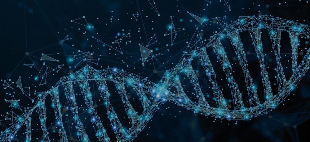Ein DNA Strang aus diversen geometrischen Formen.