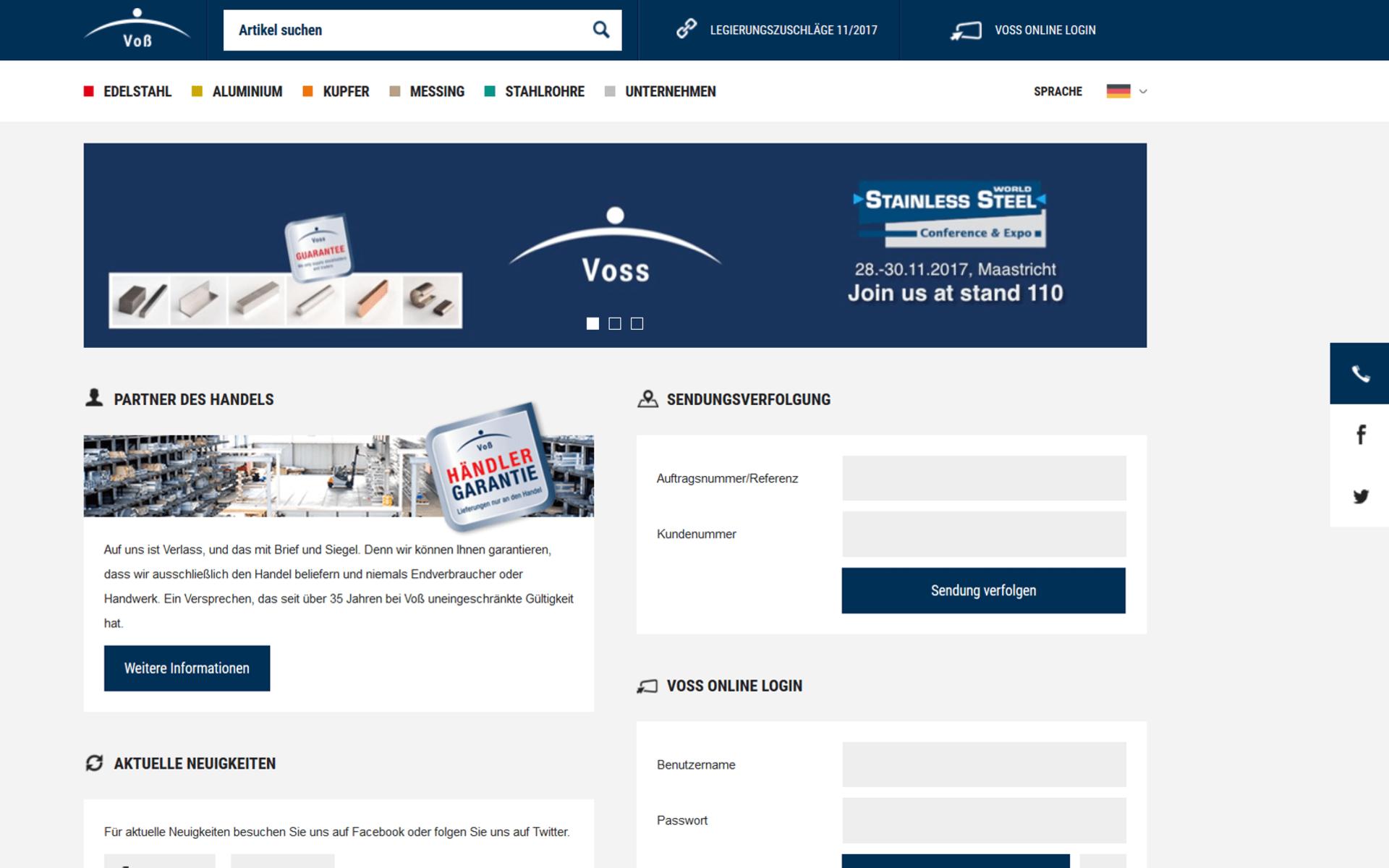 Screenshot der Startseite von voss-edelstahl.com umgesetzt mit dem OXID eShop
