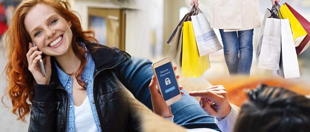 Eine Collage aus verschiedenen Bildern zeigt eine Frau die telefoniert, volle Einkaufstüten und eine Person, die einen Einkauf mit Secure Payment tätigt.