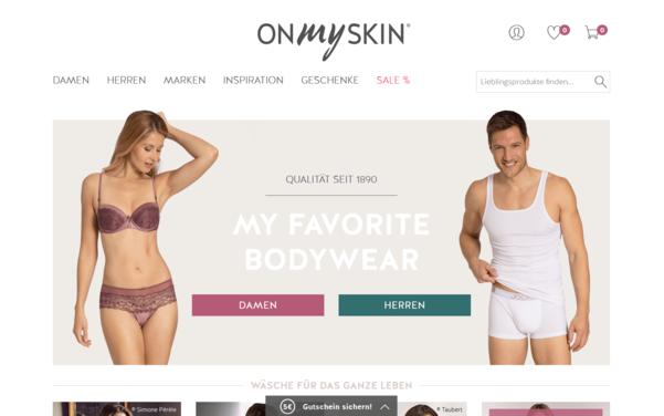 Screenshot der Startseite von onmyskin.de umgesetzt mit dem OXID eShop