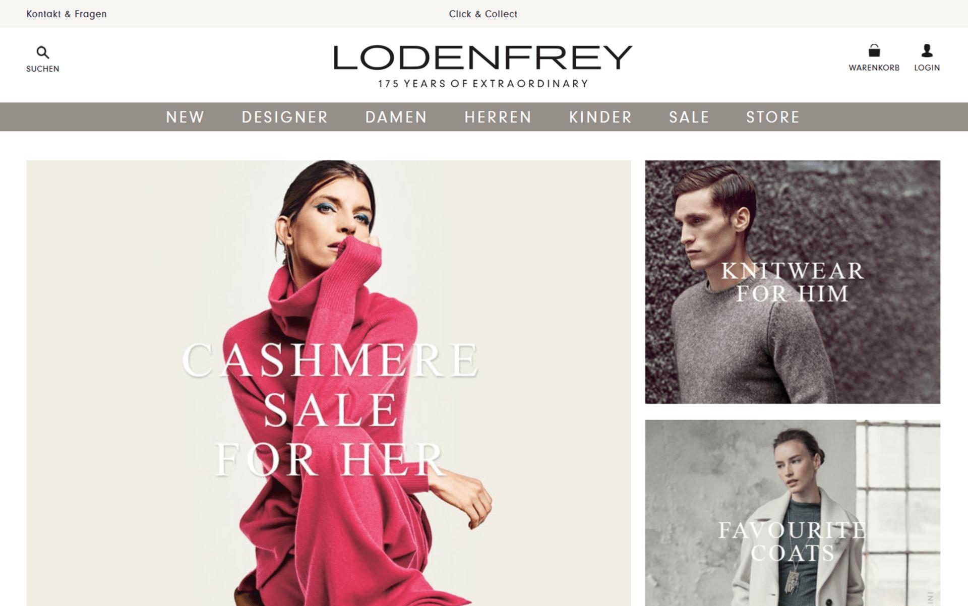 Die Startseite von lodenfrey.com umgesetzt mit dem OXID eShop