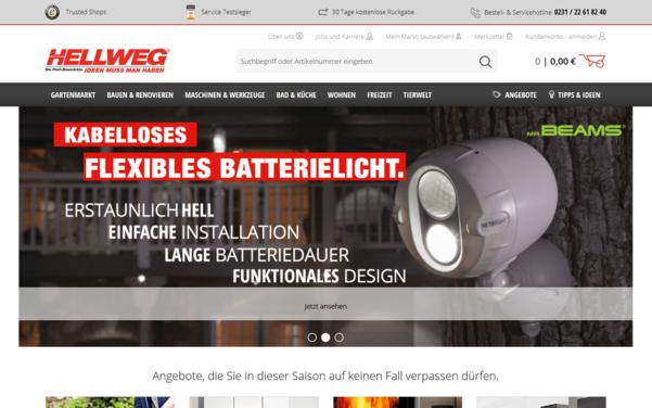 Screenshot der Startseite von hellweg.de umgesetzt mit dem OXID eShop