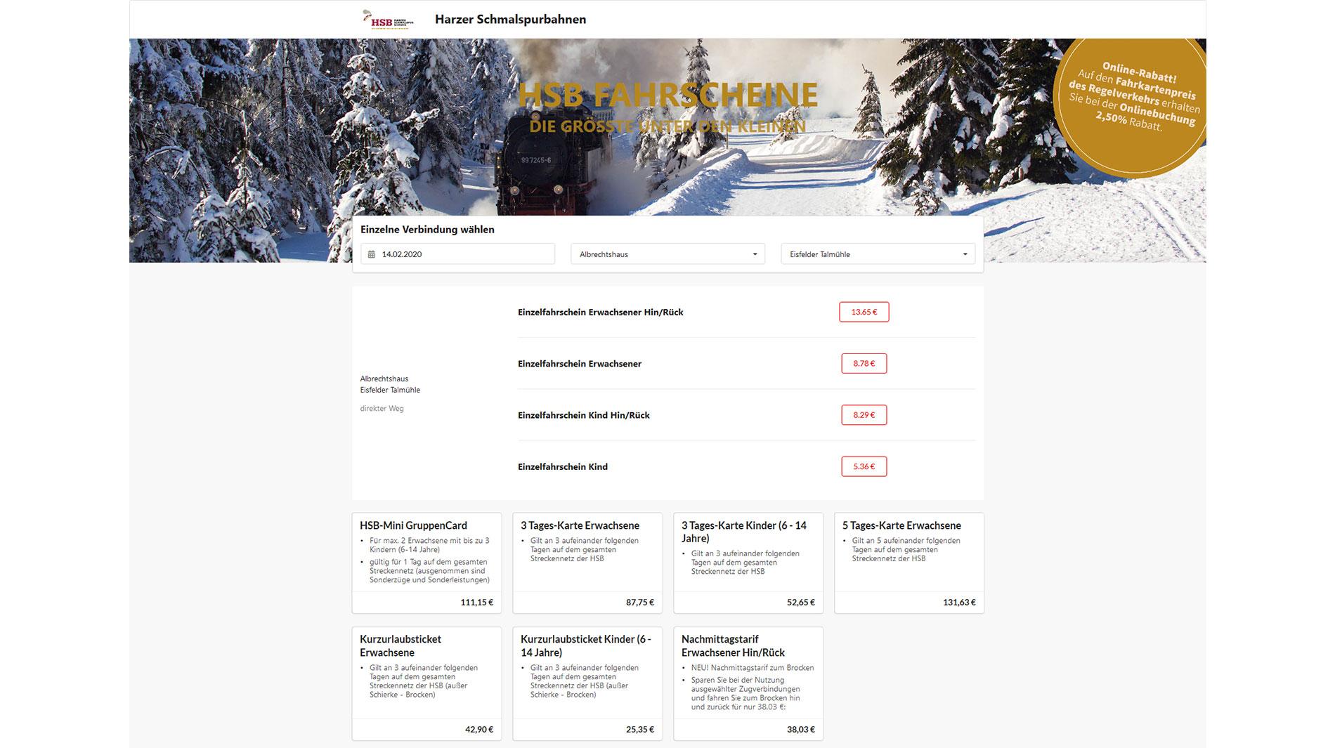 Harzer Schmalspurbahnen Ticketverkauf
