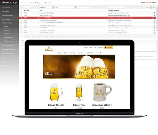 Der OXID eShop für Markenhersteller. Im Vordergrund steht ein Laptop mit einem geöffneten Online-Shop.