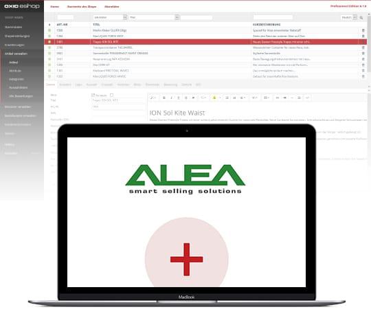 Der OXID eShop in Kombination mit ALEA. Im Vordergrund steht ein Laptop mit dem ALEA Logo.