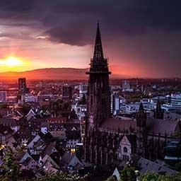 Luftaufnahme der Stadt Freiburg